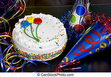 Birthday Cake and Party Hats