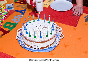 birthday cake at the table