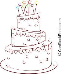birthday cake - beautiful cake isolated on white backgroune