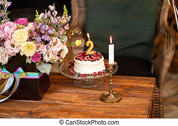 birthday cake berries and candle second birthday