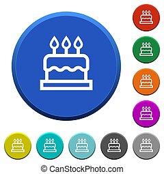 Birthday cake beveled buttons