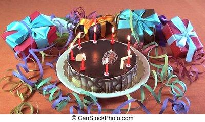 birthday cake - big chocolate cake with birthday candles...