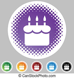 Birthday Cake - Birthday cake web button isolated on a...