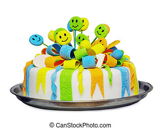birthday cake  - Birthday cake with candle on a plate
