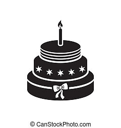 Birthday cake - Black vector birthday cake with one candle...