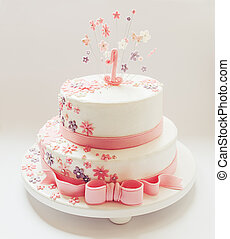 Birthday Cake - Cake for first birthday. Decorated, with...