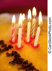 birthday cake candles light golden candlelight selective...