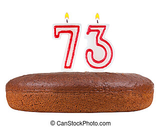 birthday cake candles number 73 isolated