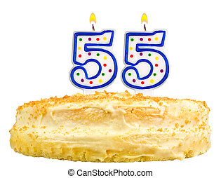 birthday cake candles number fifty five isolated - birthday ...