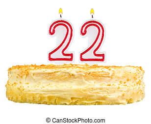 birthday cake candles number twenty two isolated