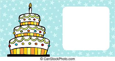 Birthday cake card - invitation card with white birthday...
