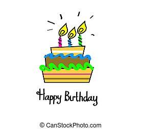Birthday cake. Celebratory cake with candles on a white background.