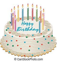 birthday cake - vector birthday cake with burning candles