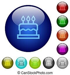 Birthday cake color glass buttons