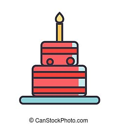 Birthday cake concept. Line vector icon. Editable stroke. Flat linear illustration isolated on white background