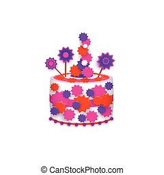 Birthday cake decorated with stars and icing