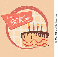 birthday cake design over pink background vector...