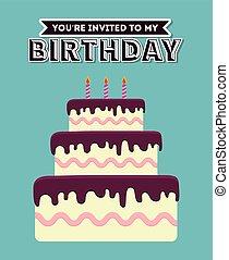 Birthday cake desserts design, vector illustration graphic