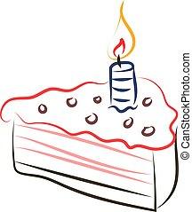 Birthday cake drawing, illustration, vector on white background.