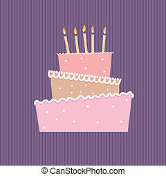 Birthday cake with one candles. Illustration on white...
