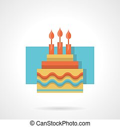 Birthday cake flat color vector icon