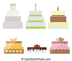 Birthday Cake Flat Icon Set for Your Design, Vector Illustration