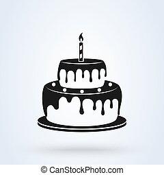 Birthday cake flat style. icon isolated on white background. Vector illustration