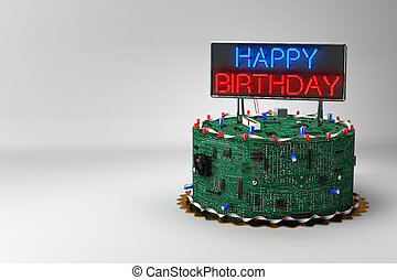 Fun birthday cake for geeks with eletronic components