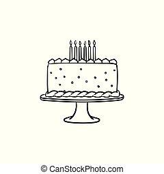 Birthday cake hand drawn sketch icon.