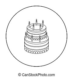 Birthday cake icon in outline style isolated on white background. Cakes symbol stock vector illustration.