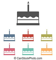 Birthday cake icons set