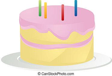 Birthday cake illustration - Birthday cake with pink icing...