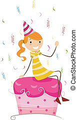Birthday Cake - Illustration of a Girl Sitting on the Top of...