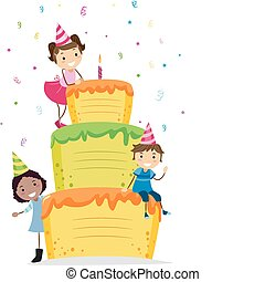 Birthday Cake - Illustration of Kids Resting on a Layered...