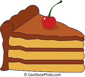 Birthday cake, illustration, vector on white background.