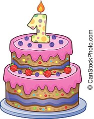 Birthday cake image for 1 year old