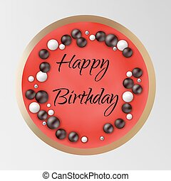 Birthday cake isolated on background. Vector Illustration for use as a Birthday Card, pastry logo, festive background, web or any other design situations.