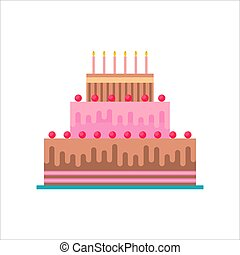 Birthday cake isolated with candles