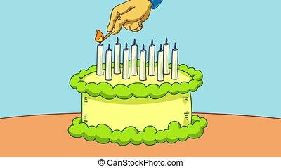 Birthday Cake Lighting - A cartoon hand with a match lights...