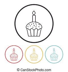 birthday cake line icon