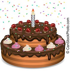 Birthday cake on a white background. Vector illustration.