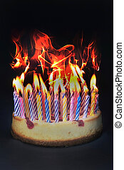 Birthday cake on fire