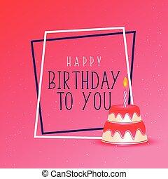birthday cake on pink background