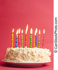 birthday cake on red background