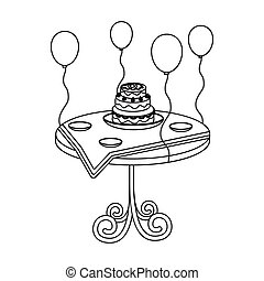 Birthday cake on the table icon in outline style isolated on white background. Event service symbol stock vector illustration.