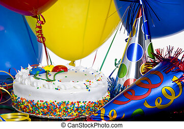 Birthday Cake, party hats and balloons