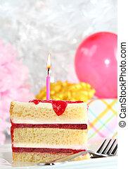 Birthday cake - Perfect slice of delicious birthday cake.
