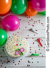 Birthday cake ready to eat