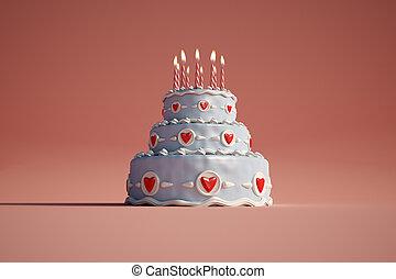 Birthday cake red
