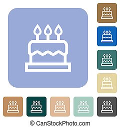 Birthday cake white flat icons on color rounded square backgrounds